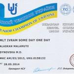 Сертификат Юного Чемпиона Рады