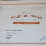 Сертификат Чемпиона Породы Беларуси Byara Northern Sunrise